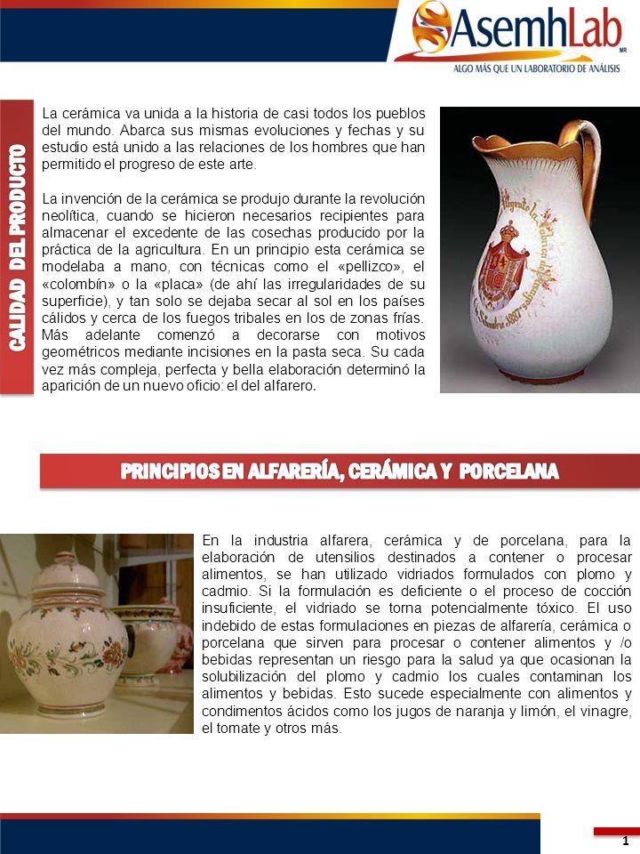 En la industria alfarera, cerámica y de porcelana, para la elaboración de utensilios destinados a contener o procesar alimentos, se han utilizado vidriados formulados con plomo y cadmio.