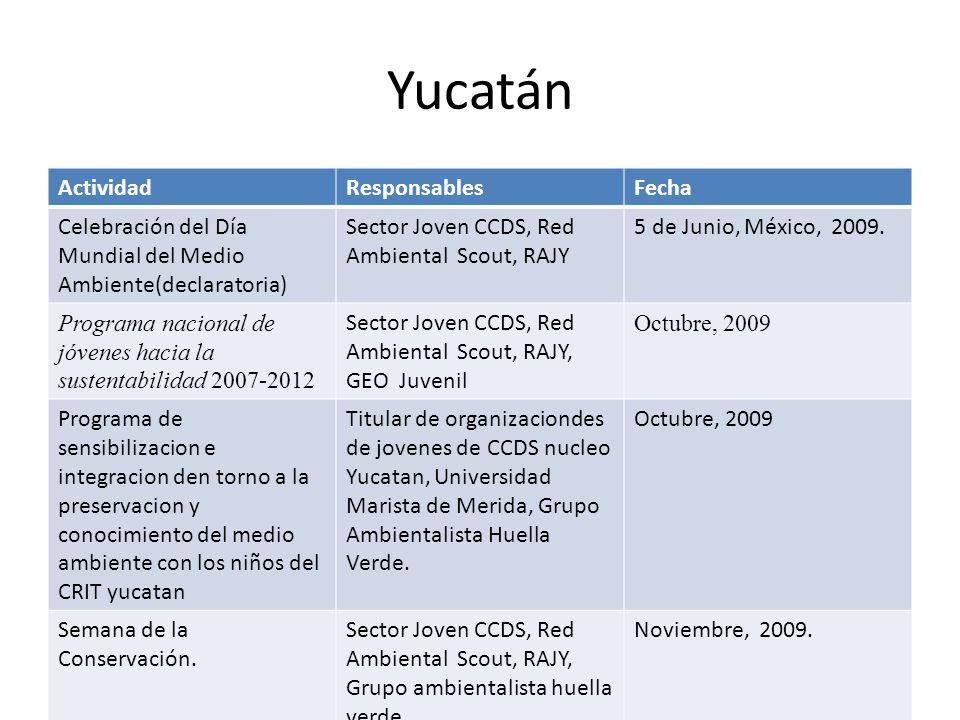 Yucatán ActividadResponsablesFecha Celebración del Día Mundial del Medio Ambiente(declaratoria) Sector Joven CCDS, Red Ambiental Scout, RAJY 5 de Junio, México, 2009.