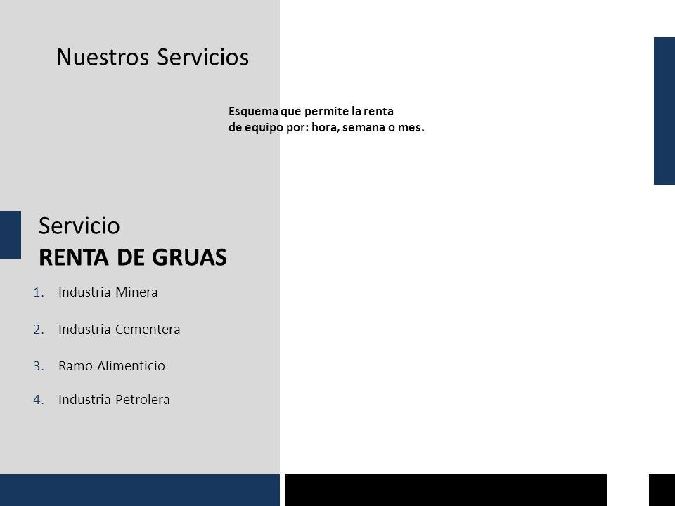 Nuestros Servicios Servicio RENTA DE GRUAS Esquema que permite la renta de equipo por: hora, semana o mes. 1.Industria Minera 2.Industria Cementera 3.
