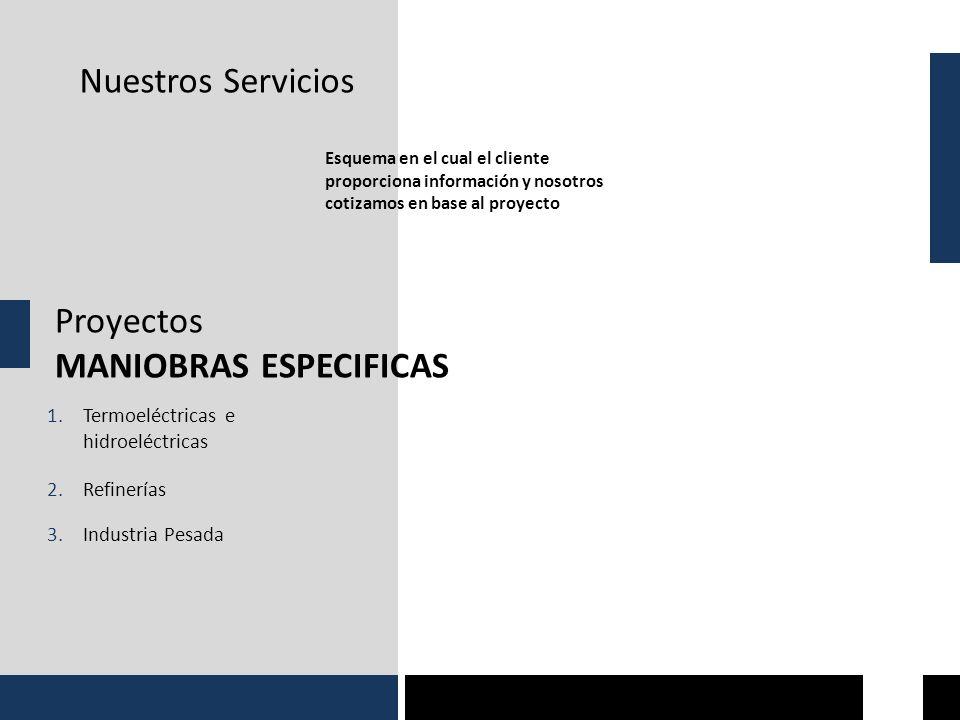 Nuestros Servicios Proyectos MANIOBRAS ESPECIFICAS Esquema en el cual el cliente proporciona información y nosotros cotizamos en base al proyecto 1.Termoeléctricas e hidroeléctricas 2.Refinerías 3.Industria Pesada