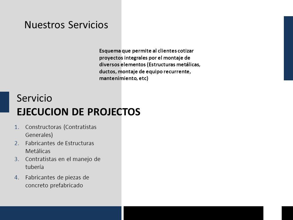 Nuestros Servicios Servicio EJECUCION DE PROJECTOS Esquema que permite al clientes cotizar proyectos integrales por el montaje de diversos elementos (Estructuras metálicas, ductos, montaje de equipo recurrente, mantenimiento, etc) 1.Constructoras (Contratistas Generales) 2.Fabricantes de Estructuras Metálicas 3.Contratistas en el manejo de tubería 4.Fabricantes de piezas de concreto prefabricado