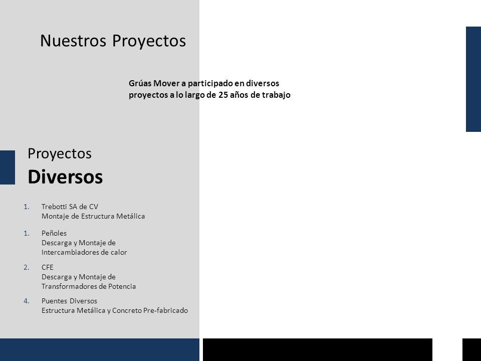 Nuestros Proyectos Proyectos Diversos Grúas Mover a participado en diversos proyectos a lo largo de 25 años de trabajo 1.Trebotti SA de CV Montaje de Estructura Metálica 1.Peñoles Descarga y Montaje de Intercambiadores de calor 2.CFE Descarga y Montaje de Transformadores de Potencia 4.Puentes Diversos Estructura Metálica y Concreto Pre-fabricado