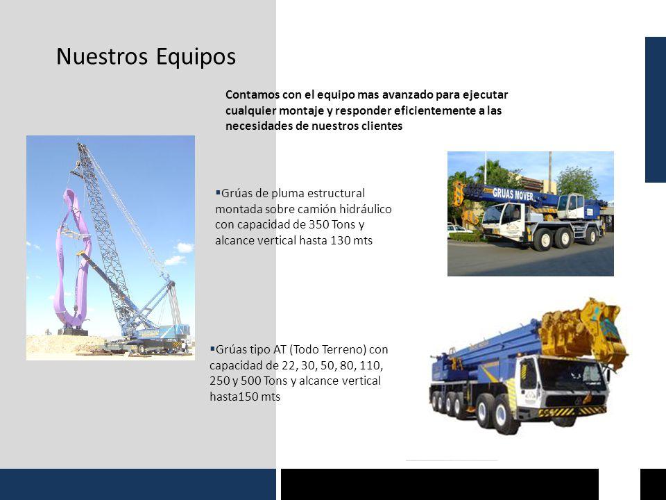 Nuestros Equipos Grúas tipo AT (Todo Terreno) con capacidad de 22, 30, 50, 80, 110, 250 y 500 Tons y alcance vertical hasta150 mts Grúas de pluma estr