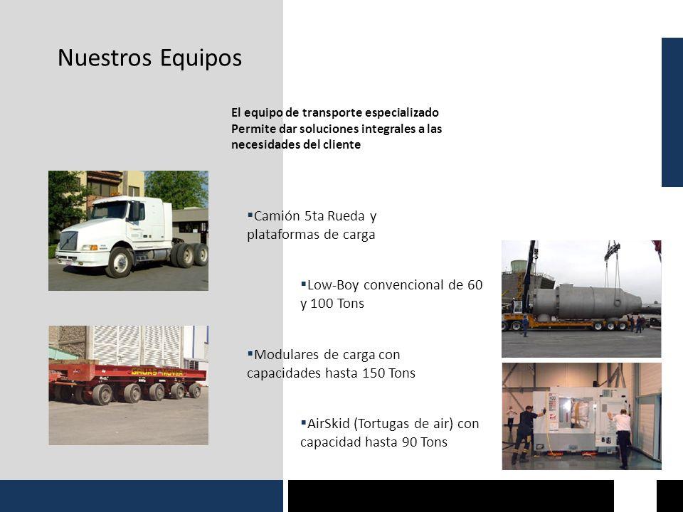 Nuestros Equipos El equipo de transporte especializado Permite dar soluciones integrales a las necesidades del cliente Camión 5ta Rueda y plataformas