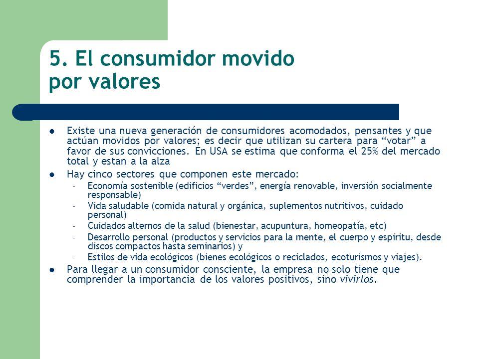 5. El consumidor movido por valores Existe una nueva generación de consumidores acomodados, pensantes y que actúan movidos por valores; es decir que u