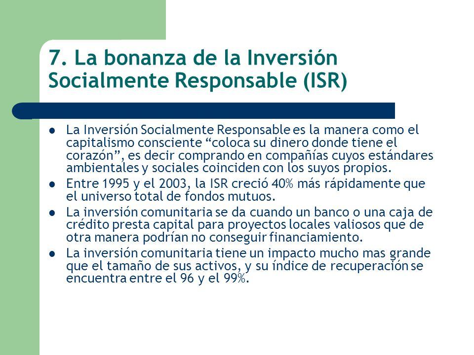 7. La bonanza de la Inversión Socialmente Responsable (ISR) La Inversión Socialmente Responsable es la manera como el capitalismo consciente coloca su