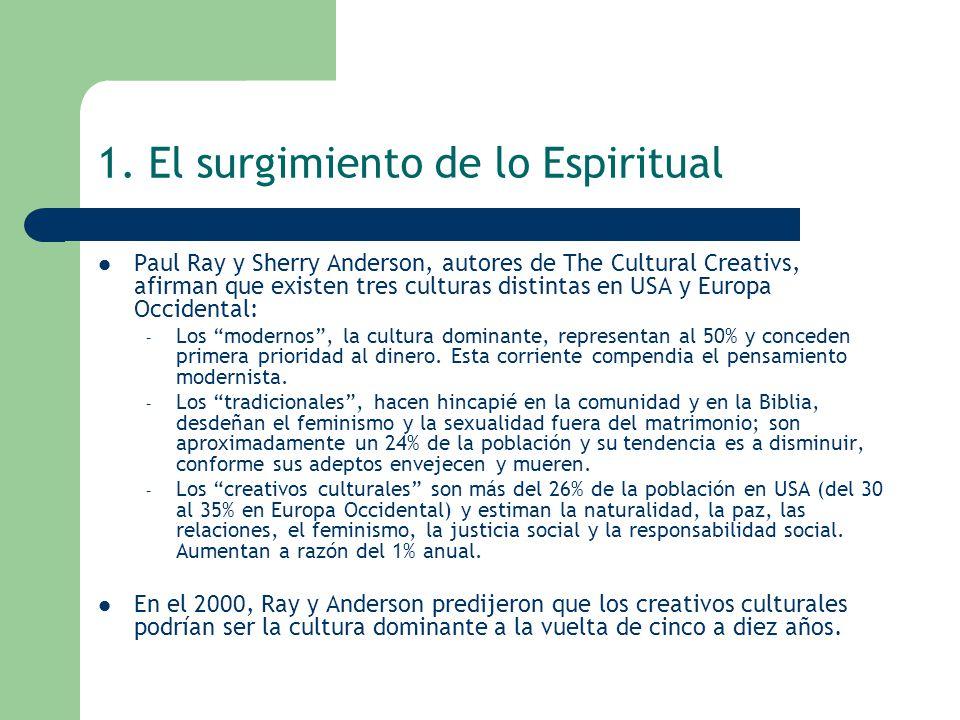 1. El surgimiento de lo Espiritual Paul Ray y Sherry Anderson, autores de The Cultural Creativs, afirman que existen tres culturas distintas en USA y