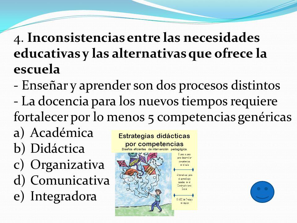 4. Inconsistencias entre las necesidades educativas y las alternativas que ofrece la escuela - Enseñar y aprender son dos procesos distintos - La doce