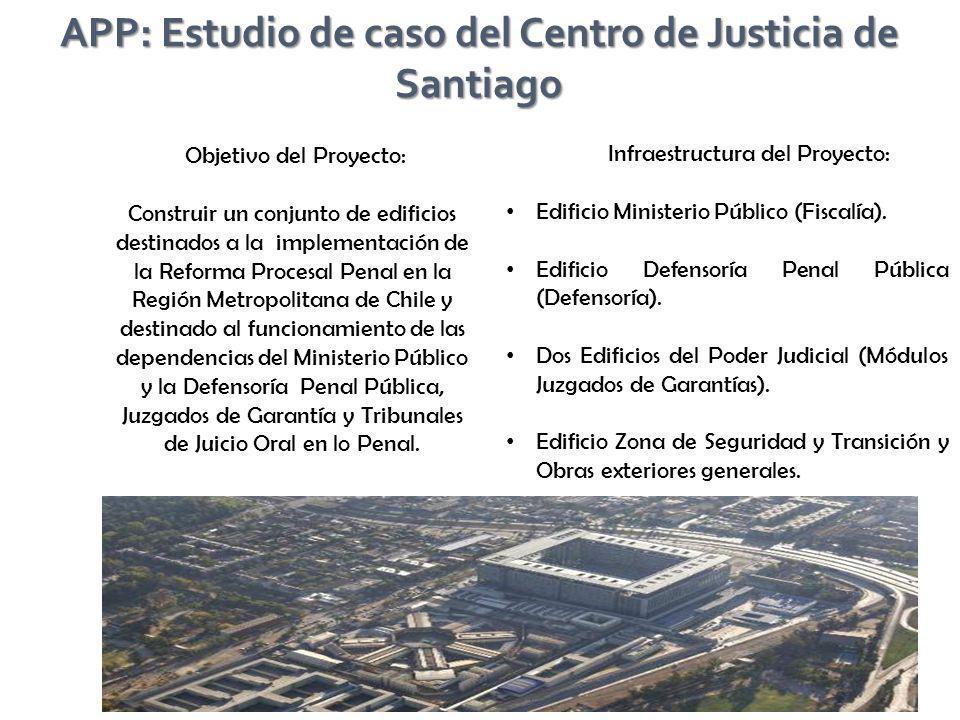 Objetivo del Proyecto: Construir un conjunto de edificios destinados a la implementación de la Reforma Procesal Penal en la Región Metropolitana de Ch