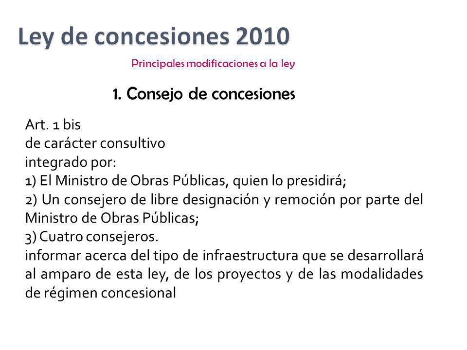 Principales modificaciones a la ley 1. Consejo de concesiones Art. 1 bis de carácter consultivo integrado por: 1) El Ministro de Obras Públicas, quien