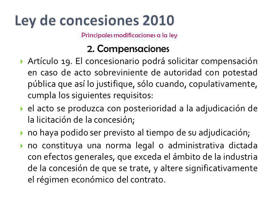Artículo 19. El concesionario podrá solicitar compensación en caso de acto sobreviniente de autoridad con potestad pública que así lo justifique, sólo