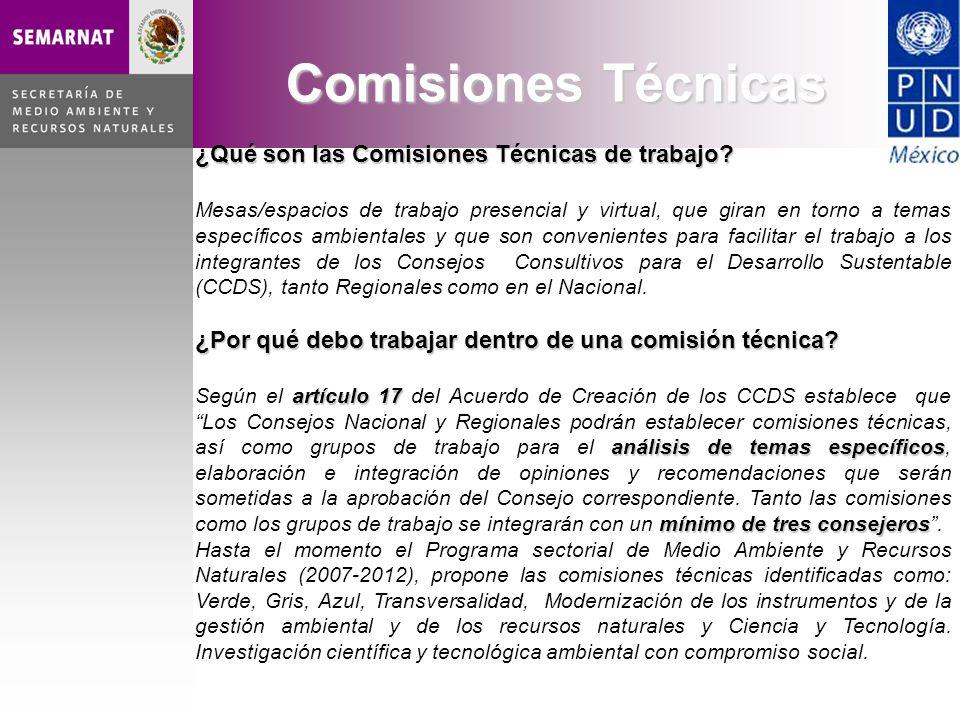 ¿Qué son las Comisiones Técnicas de trabajo? Mesas/espacios de trabajo presencial y virtual, que giran en torno a temas específicos ambientales y que