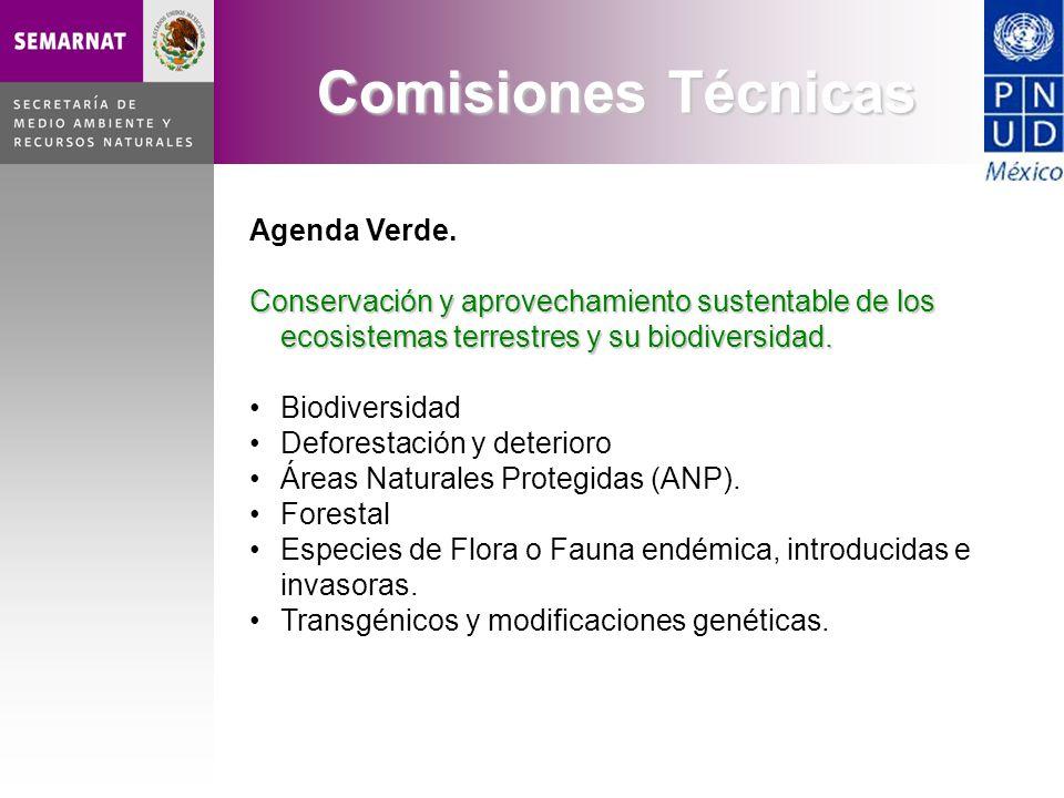 Agenda Verde. Conservación y aprovechamiento sustentable de los ecosistemas terrestres y su biodiversidad. Biodiversidad Deforestación y deterioro Áre