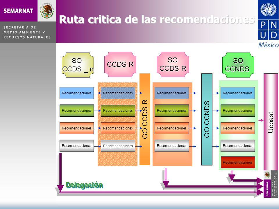 Ruta critica de las recomendaciones Recomendaciones SO CCDS _ n Recomendaciones SO CCDS R GO CCDS R Recomendaciones SOCCNDS GO CCNDS Ucpast Delegación