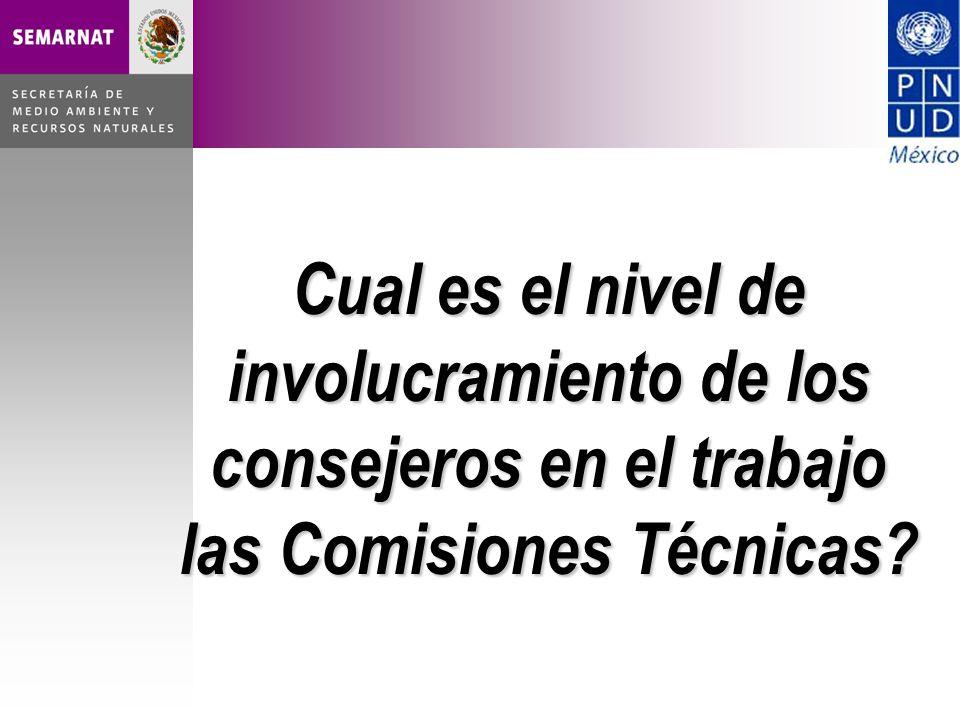 Cual es el nivel de involucramiento de los consejeros en el trabajo las Comisiones Técnicas