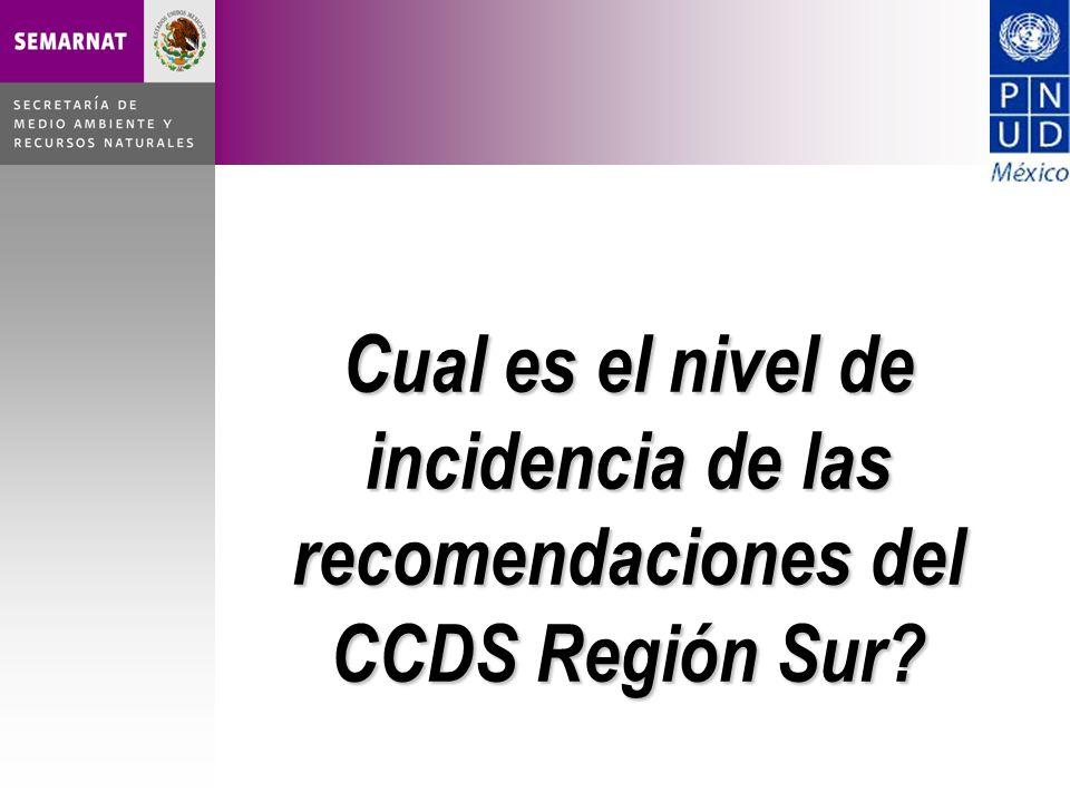Cual es el nivel de incidencia de las recomendaciones del CCDS Región Sur?