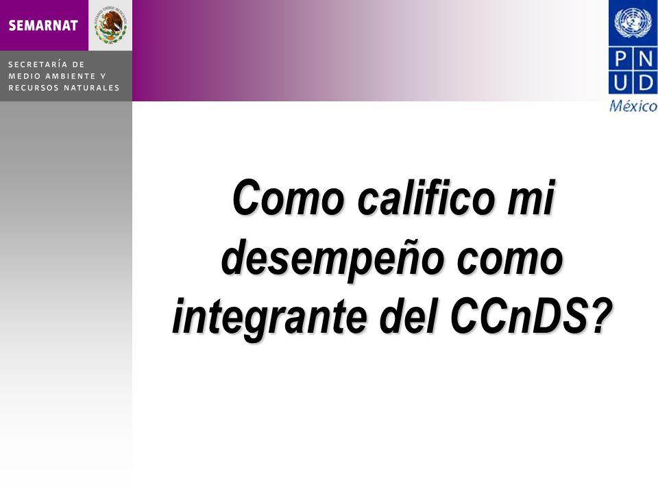 Como califico mi desempeño como integrante del CCnDS