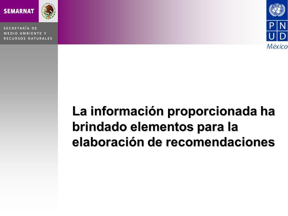 La información proporcionada ha brindado elementos para la elaboración de recomendaciones