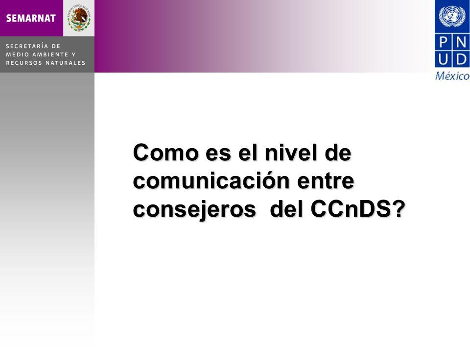 Como es el nivel de comunicación entre consejeros del CCnDS?