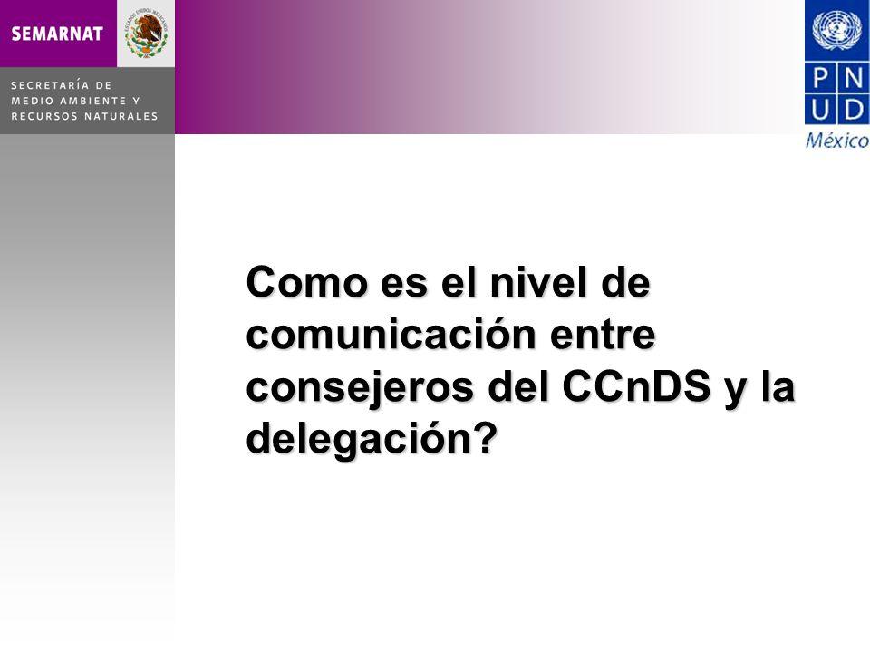 Como es el nivel de comunicación entre consejeros del CCnDS y la delegación?