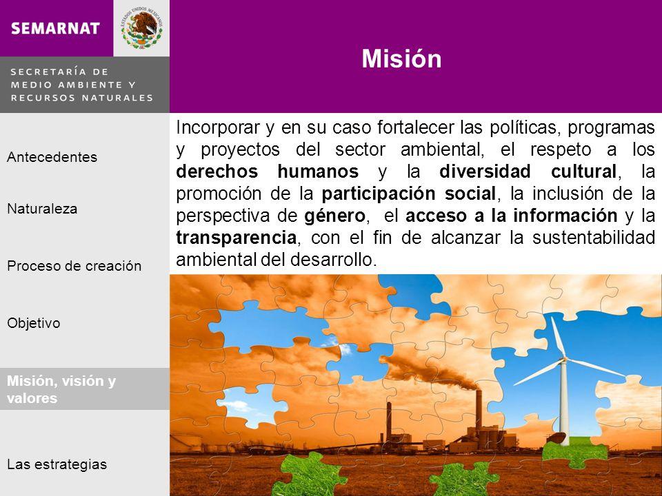 Naturaleza Proceso de creación Objetivo Misión, visión y valores Antecedentes Las estrategias Misión Lo malo Misión, visión y valores Incorporar y en