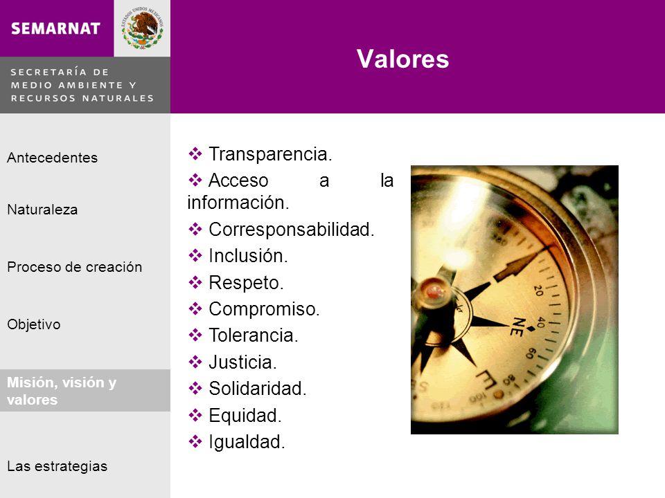 Naturaleza Proceso de creación Objetivo Misión, visión y valores Antecedentes Las estrategias Valores Lo malo Transparencia. Acceso a la información.
