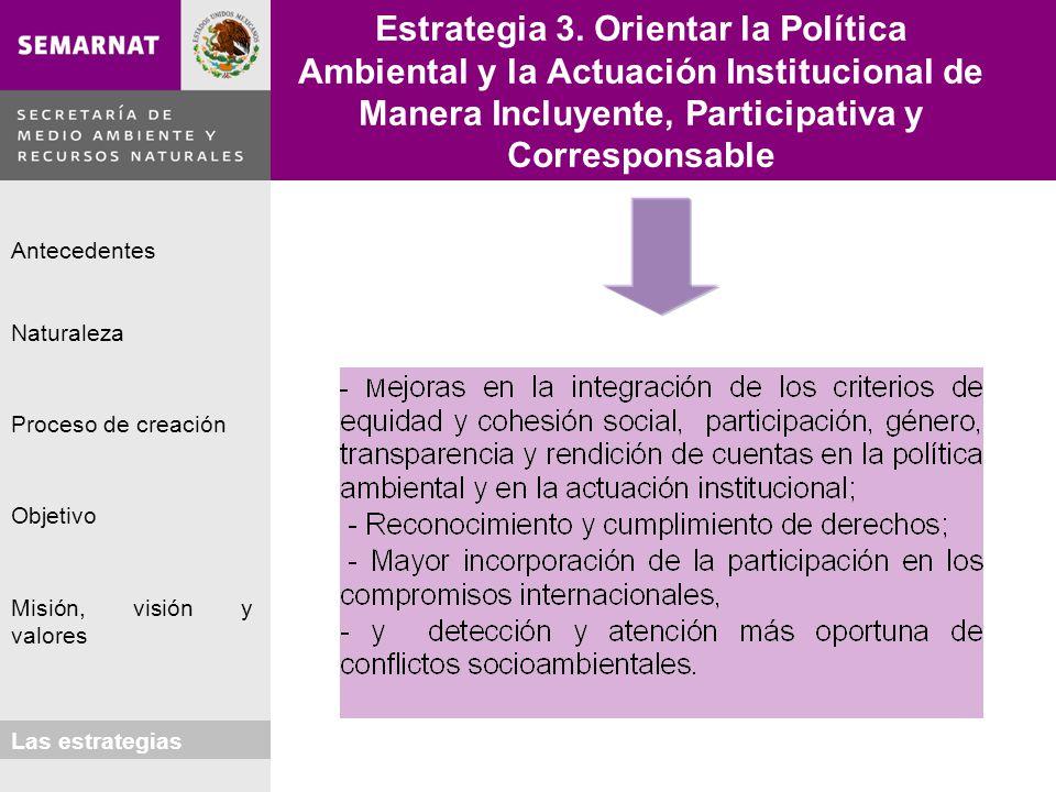 Naturaleza Proceso de creación Objetivo Misión, visión y valores Antecedentes Las estrategias Estrategia 3. Orientar la Política Ambiental y la Actuac