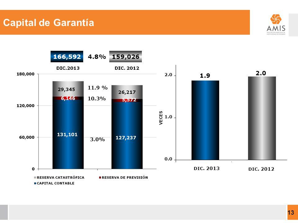 11.9 % 4.8% 3.0% 10.3% 166,592159,026 13 Capital de Garantía