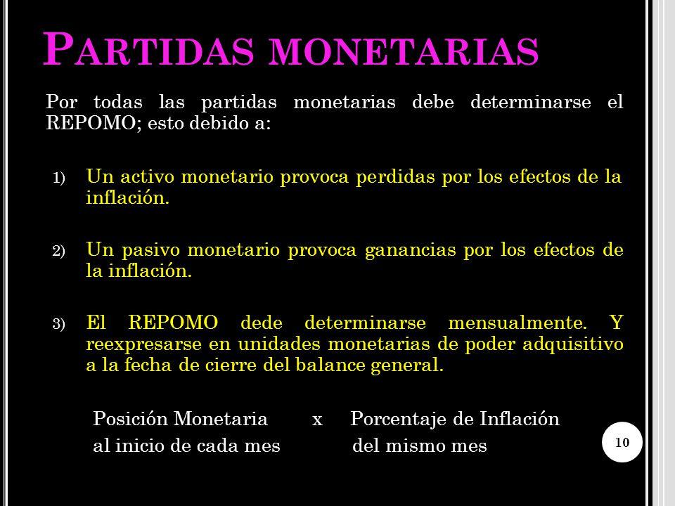 P ARTIDAS MONETARIAS Por todas las partidas monetarias debe determinarse el REPOMO; esto debido a: 1) Un activo monetario provoca perdidas por los efe