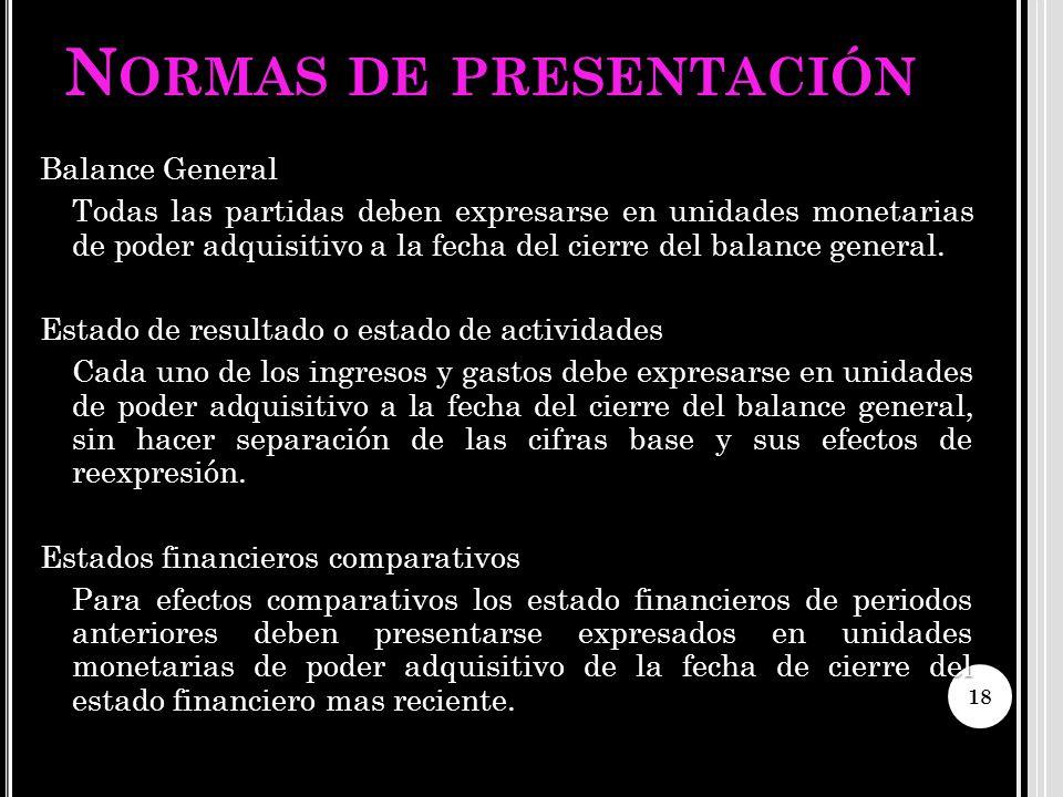 N ORMAS DE PRESENTACIÓN Balance General Todas las partidas deben expresarse en unidades monetarias de poder adquisitivo a la fecha del cierre del bala