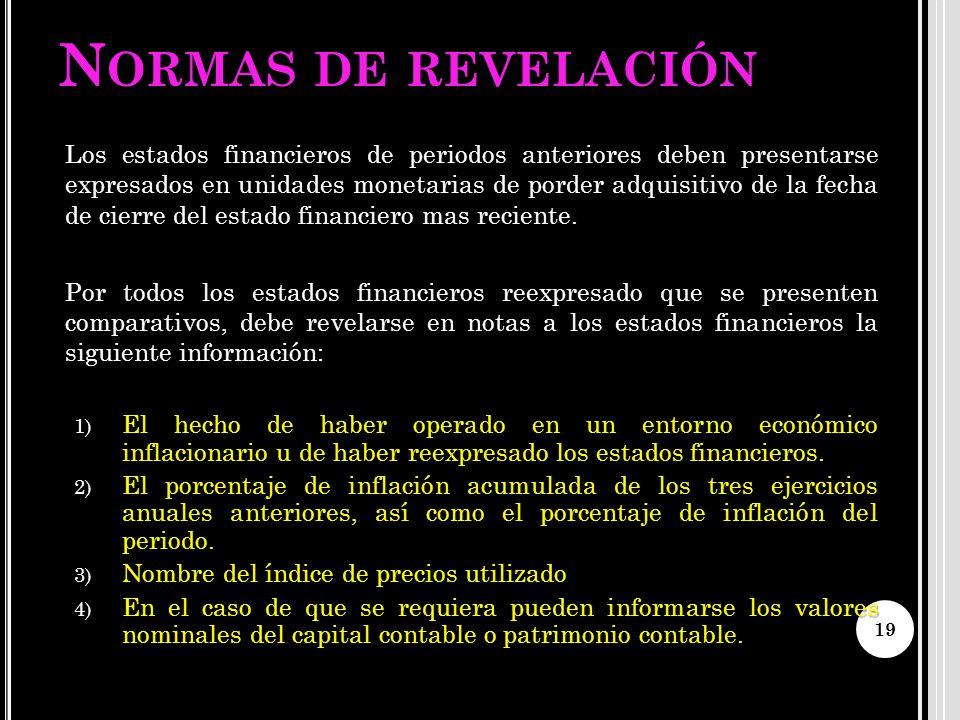 N ORMAS DE REVELACIÓN Los estados financieros de periodos anteriores deben presentarse expresados en unidades monetarias de porder adquisitivo de la f