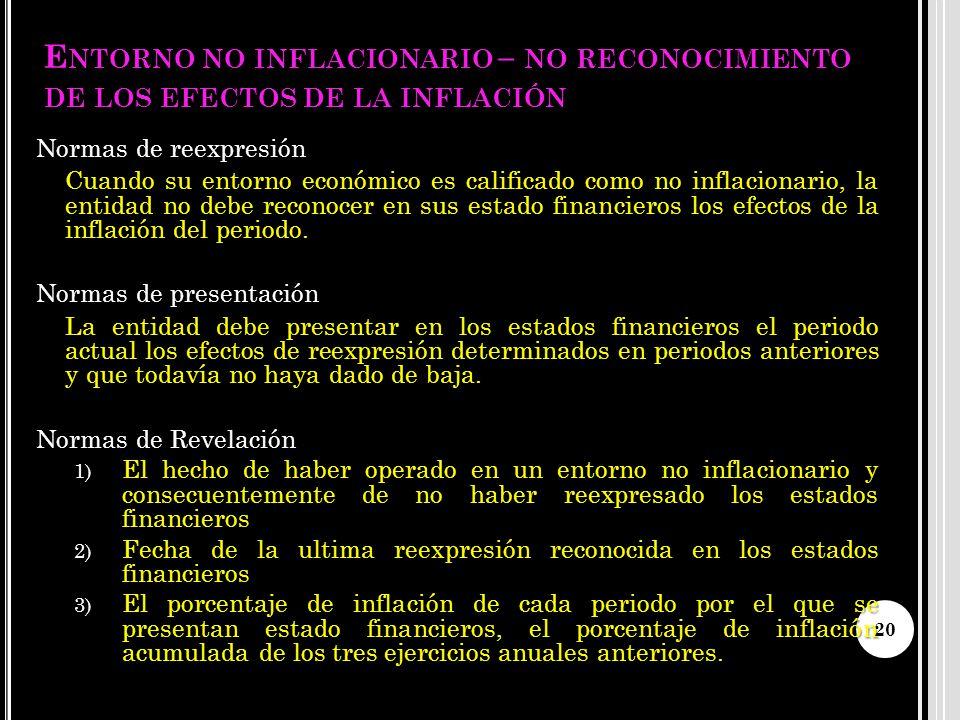 E NTORNO NO INFLACIONARIO – NO RECONOCIMIENTO DE LOS EFECTOS DE LA INFLACIÓN Normas de reexpresión Cuando su entorno económico es calificado como no i