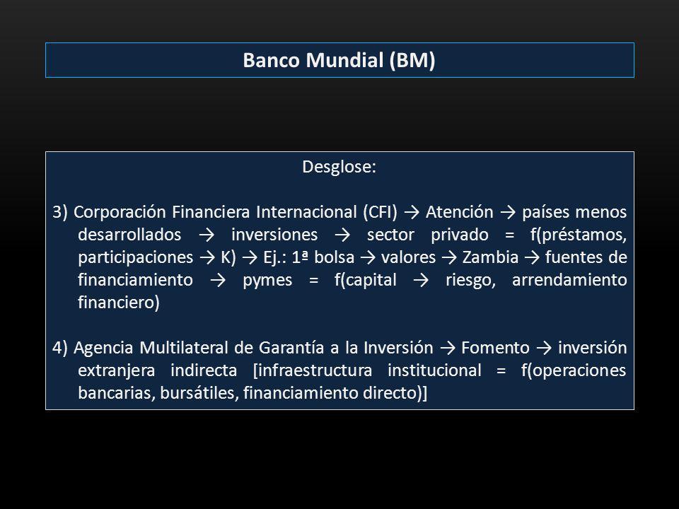 Banco Mundial (BM) Desglose: 3) Corporación Financiera Internacional (CFI) Atención países menos desarrollados inversiones sector privado = f(préstamo