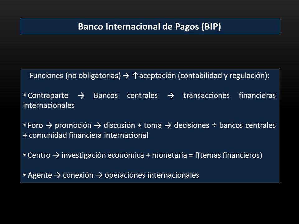 Banco Internacional de Pagos (BIP) Funciones (no obligatorias) aceptación (contabilidad y regulación): Contraparte Bancos centrales transacciones fina