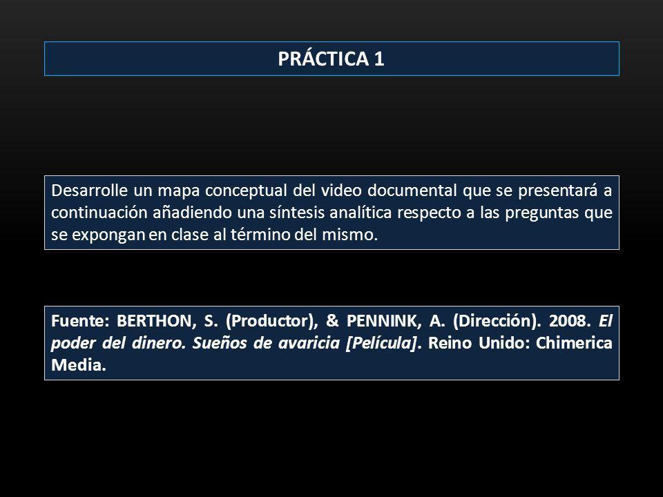 PRÁCTICA 1 Desarrolle un mapa conceptual del video documental que se presentará a continuación añadiendo una síntesis analítica respecto a las pregunt