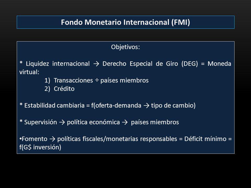 Fondo Monetario Internacional (FMI) Objetivos: * Liquidez internacional Derecho Especial de Giro (DEG) = Moneda virtual: 1)Transacciones ÷ países miem