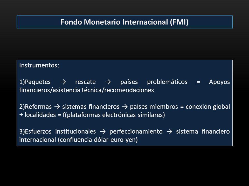 Fondo Monetario Internacional (FMI) Instrumentos: 1)Paquetes rescate países problemáticos = Apoyos financieros/asistencia técnica/recomendaciones 2)Re