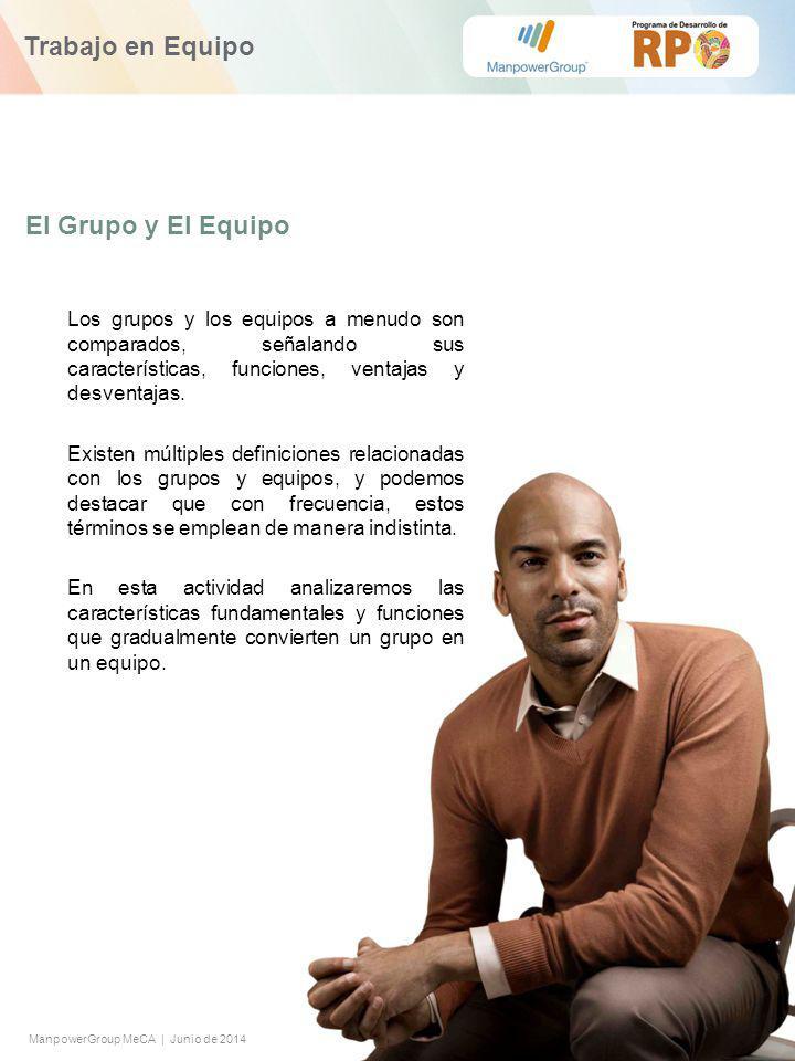 ManpowerGroup MeCA | Junio de 2014 Trabajo en Equipo El Grupo y El Equipo Los grupos y los equipos a menudo son comparados, señalando sus características, funciones, ventajas y desventajas.