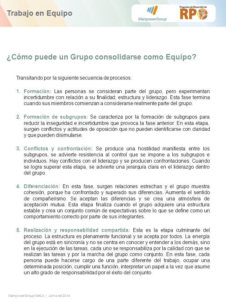 ManpowerGroup MeCA | Junio de 2014 ¿Cómo puede un Grupo consolidarse como Equipo.
