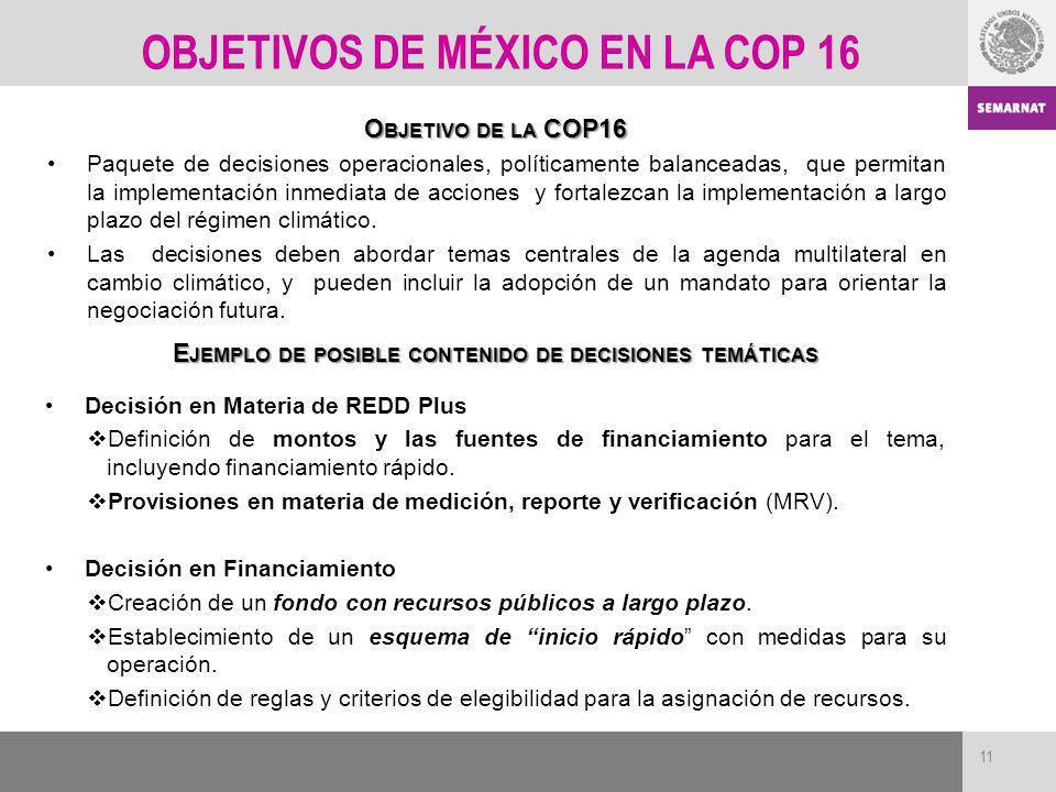 11 O BJETIVO DE LA COP16 Paquete de decisiones operacionales, políticamente balanceadas, que permitan la implementación inmediata de acciones y fortal