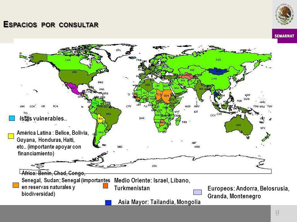 17 E SPACIOSPORCONSULTAR E SPACIOS POR CONSULTAR 17 E SPACIOSPORCONSULTAR E SPACIOS POR CONSULTAR Islas vulnerables.. América Latina : Belice, Bolivia