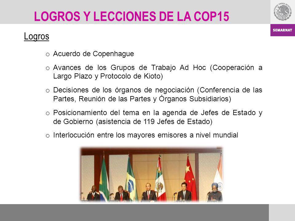 Logros o Acuerdo de Copenhague o Avances de los Grupos de Trabajo Ad Hoc (Cooperación a Largo Plazo y Protocolo de Kioto) o Decisiones de los órganos