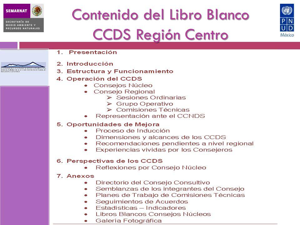 Contenido del Libro Blanco CCDS Región Centro