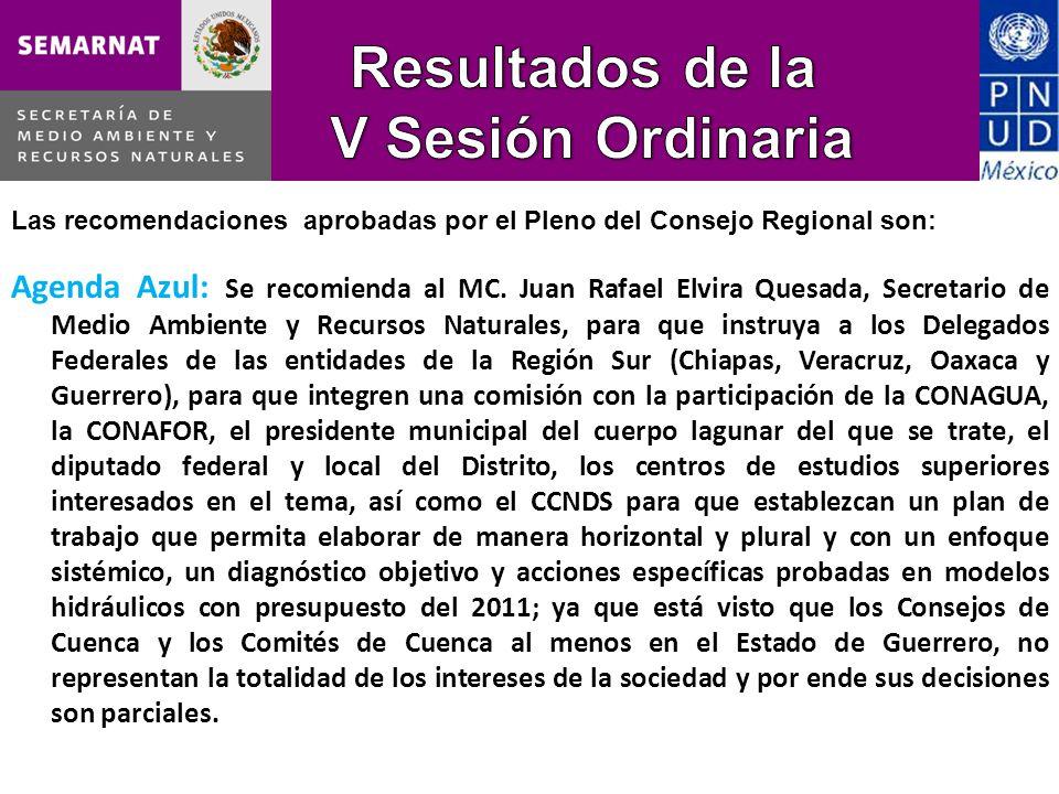 Las recomendaciones aprobadas por el Pleno del Consejo Regional son: Agenda Azul: Se recomienda al MC.