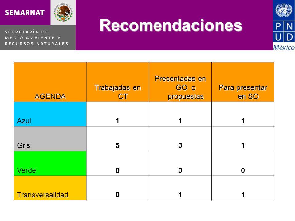 Recomendaciones AGENDA Trabajadas en CT Presentadas en GO o propuestas Para presentar en SO Azul111 Gris531 Verde000 Transversalidad011