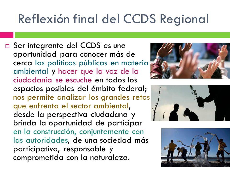 Reflexión final del CCDS Regional Ser integrante del CCDS es una oportunidad para conocer más de cerca las políticas públicas en materia ambiental y h
