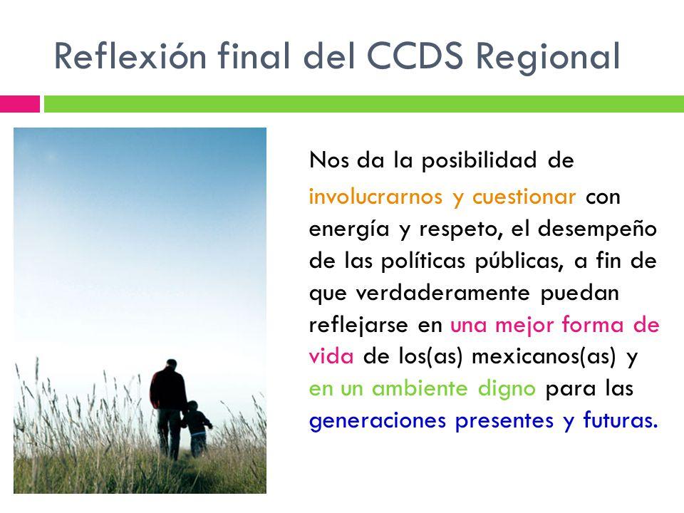 Reflexión final del CCDS Regional Nos da la posibilidad de involucrarnos y cuestionar con energía y respeto, el desempeño de las políticas públicas, a