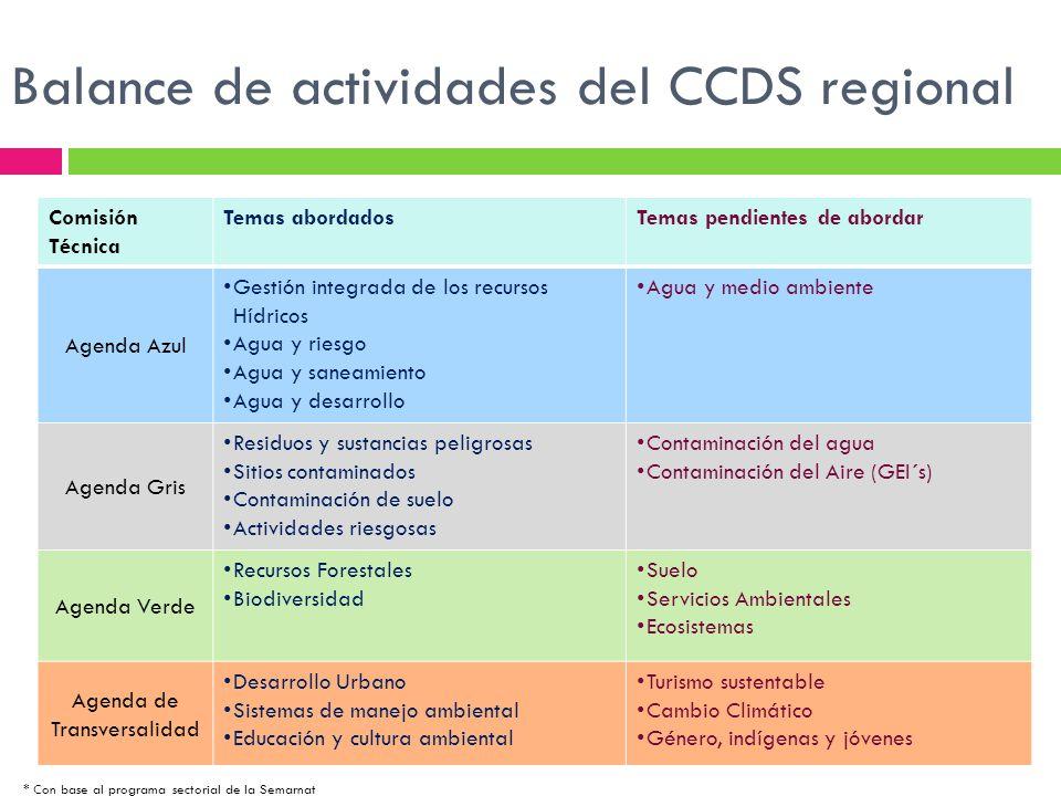 Balance de actividades del CCDS regional Comisión Técnica Temas abordadosTemas pendientes de abordar Agenda Azul Gestión integrada de los recursos Híd