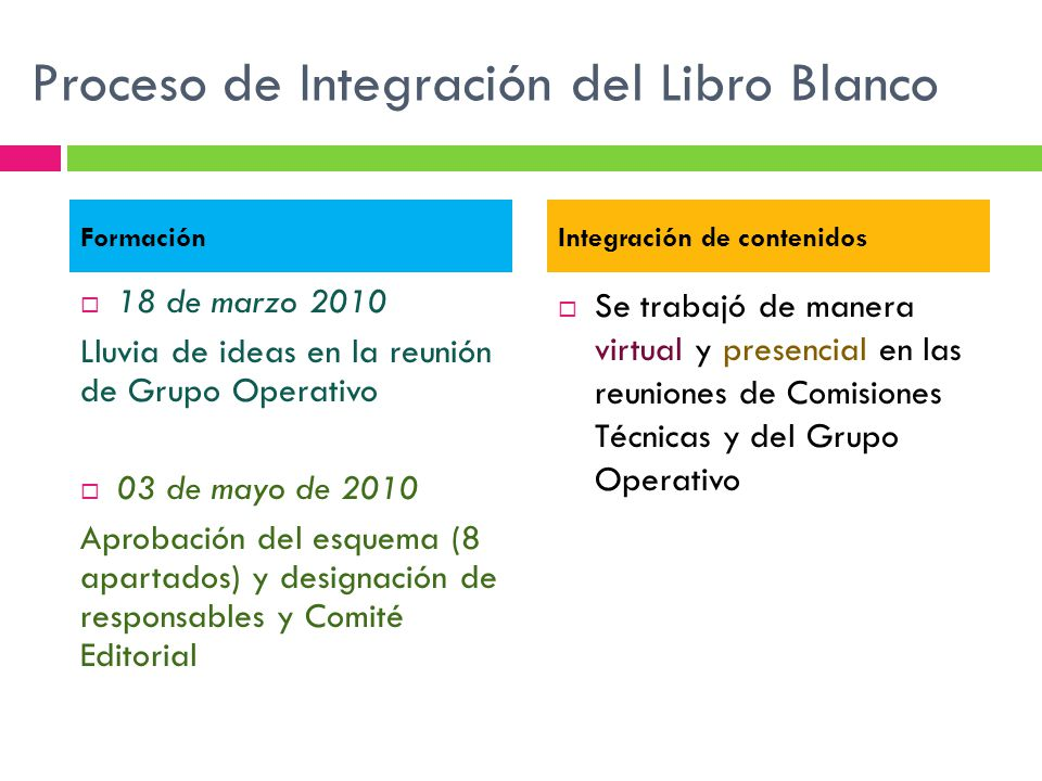Proceso de Integración del Libro Blanco 18 de marzo 2010 Lluvia de ideas en la reunión de Grupo Operativo 03 de mayo de 2010 Aprobación del esquema (8