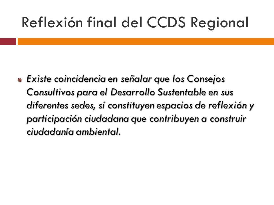 Existe coincidencia en señalar que los Consejos Consultivos para el Desarrollo Sustentable en sus diferentes sedes, sí constituyen espacios de reflexión y participación ciudadana que contribuyen a construir ciudadanía ambiental.